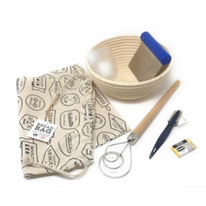 Artisan Bread Making Kit with Banneton, Bread Lame, Dough Cutter, Scraper, Whisk and Bread Bag