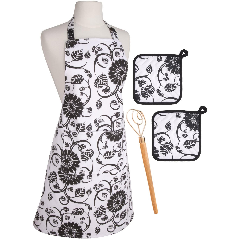 White apron in store - 4 Piece Now Designs Annabella Apron Potholders Danish Dough Whisk Bundle
