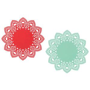 Now Designs Red Aqua Metal Doily Trivets Set of 2