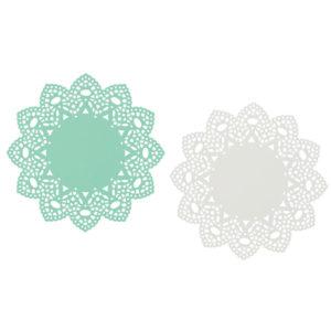 Now Designs Aqua White Metal Doily Trivets Set