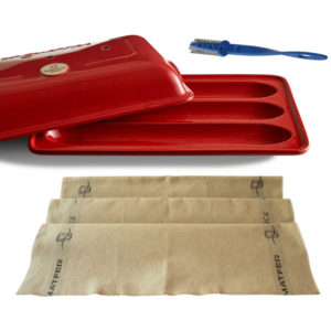 Burgundy Ceramic Baguette Baker Bread Lame Bakers Couche Set