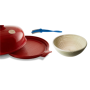 Burgundy Ceramic Bread Cloche Banneton Lame Set