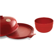 Emile Henry Burgundy Bread Cloche Mixing Bowl Set