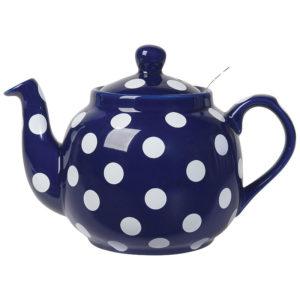 Farmhouse Teapot Cobalt Blue and White Polka Dots by London Pottery