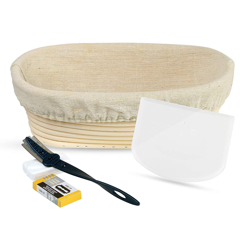 5-Piece Bread Baking Tools Set – Oval Banneton Rattan