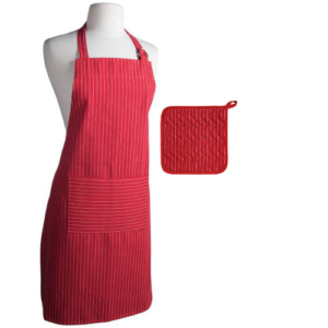 Pinstripe Chili Red Apron Potholder Combo by Now Designs