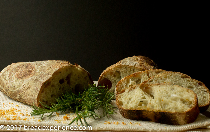 Rosemary Orange Poolish Baguettes