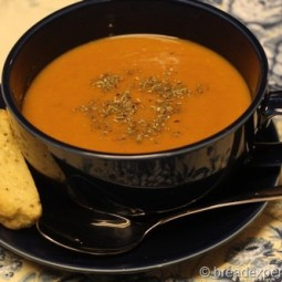 Slow Roasted Tomato Soup with Biscotti Picante