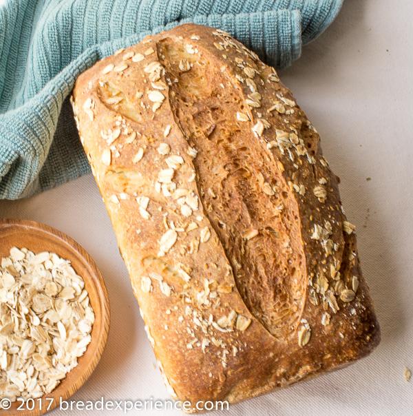 Sourdough Oatmeal Bread Scored Shot