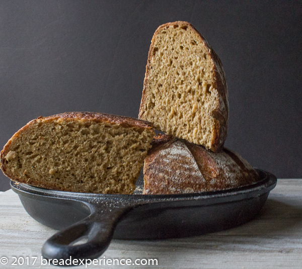 Crumb shot of Sweet Potato Sourdough Stout Bread with Oats