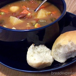 Homemade Vegetable Soup and Rolls